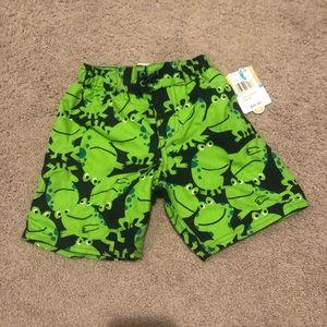 NWT Carter's boys frog swim trunks size 2T